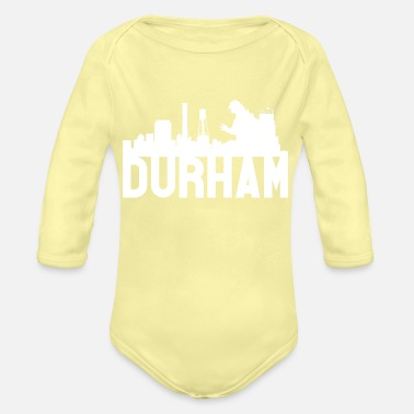 Long Kid's Durham Skyline Godzilla Basic Hoodie (White) - Organic Long-Sleeved Baby Bodysuit