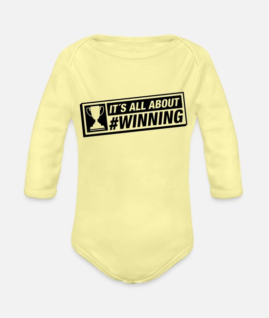 Victor Baby One Pieces - all_about_winning_ku1 - Organic Long-Sleeved Baby Bodysuit washed yellow
