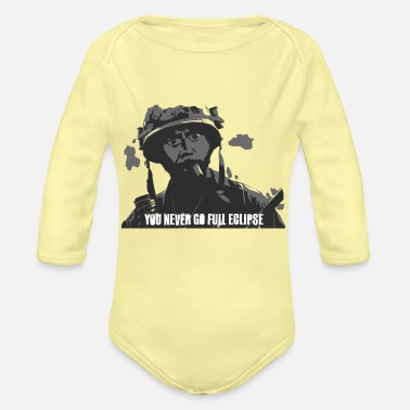 Downey Jr You never go full eclipse GREY - Organic Long-Sleeved Baby Bodysuit