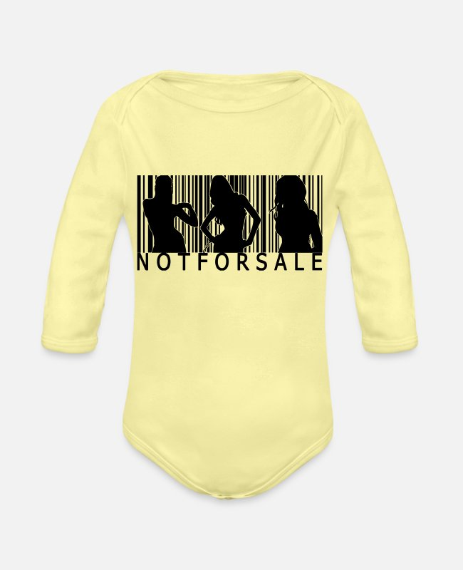 Bitch Baby One Pieces - not for sale - Organic Long-Sleeved Baby Bodysuit washed yellow