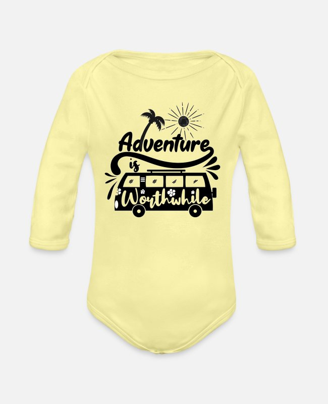 Companion Baby One Pieces - adventure is journey - Organic Long-Sleeved Baby Bodysuit washed yellow
