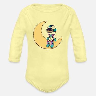 Cool funny Cute space astronaut - Organic Long-Sleeved Baby Bodysuit