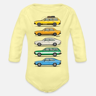 Retro Stack of VAG B1 VDubs and Four Rings - Organic Long-Sleeved Baby Bodysuit