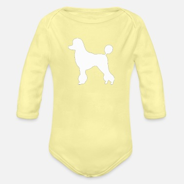Poodle (White) - Organic Long-Sleeved Baby Bodysuit