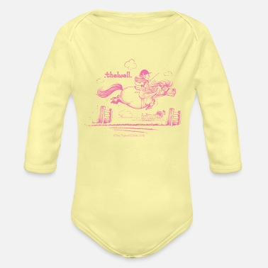 Thelwell PonyJump Pink Thelwell Cartoon - Organic Long-Sleeved Baby Bodysuit