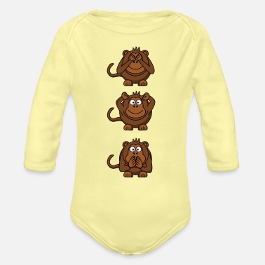 Hear No Evil Hear No Evil, Speak No Evil, See No Evil Monkeys - Organic Long-Sleeved Baby Bodysuit