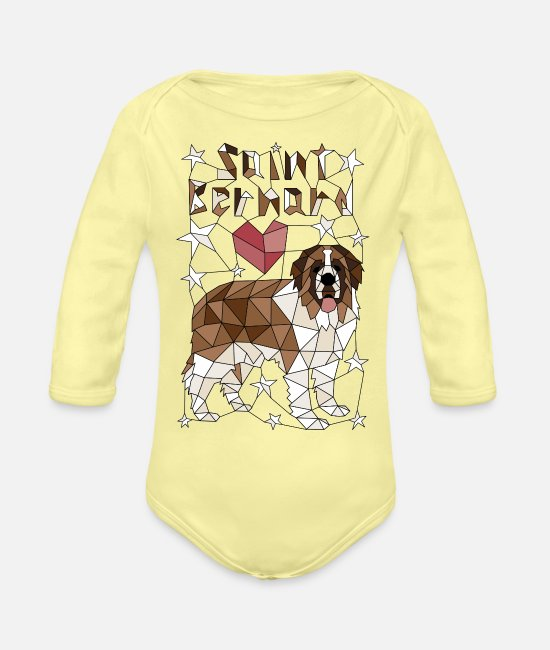 Dog Breed Baby One Pieces - Geometric Saint Bernard - Organic Long-Sleeved Baby Bodysuit washed yellow