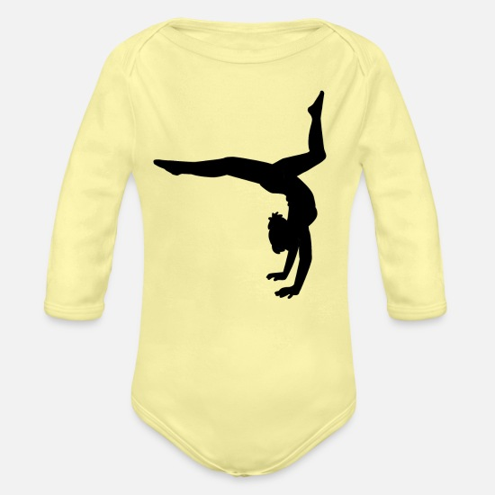 Gymnastic Baby Clothing - Dance Gymnastic Ballet Women Girls Teens T-shirts - Organic Long-Sleeved Baby Bodysuit washed yellow