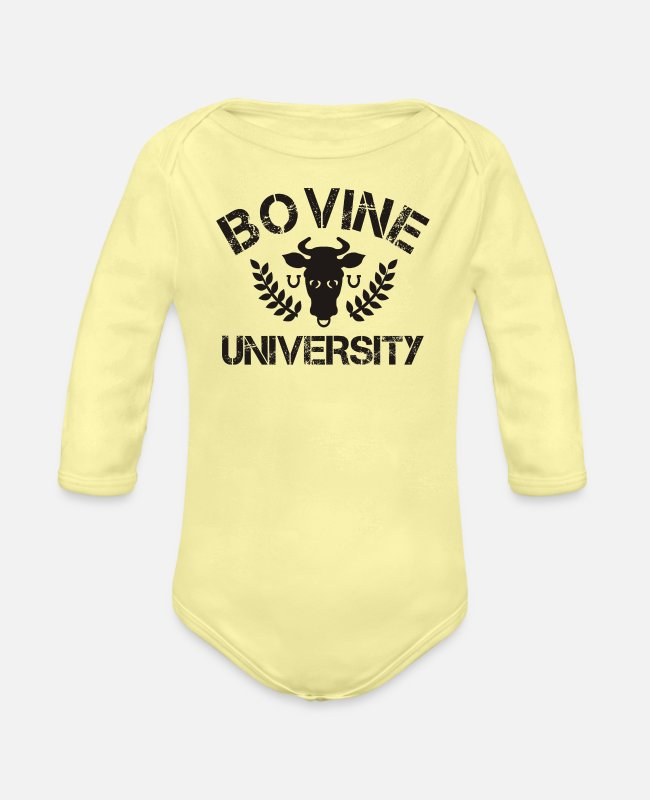 Movie Baby One Pieces - Bovine - Organic Long-Sleeved Baby Bodysuit washed yellow