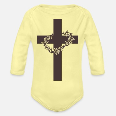Cross Easter Jesus Cross - Organic Long-Sleeved Baby Bodysuit