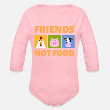 Food Friends Not Food Vegan Vetetarian Animal Rescue - Organic Long-Sleeved Baby Bodysuit
