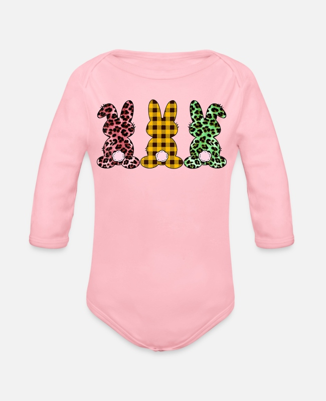 Bad Taste Baby One Pieces - Cute Bunny Rabbit Leopard Buffalo Plaid Easter - Organic Long-Sleeved Baby Bodysuit light pink