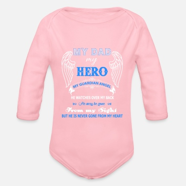 Dad Guardian Angel Dad T Shirt - Organic Long Sleeve Baby Bodysuit