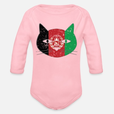 Retired Afghanistan Small Cat Afghanistan Flag Cat - Organic Long-Sleeved Baby Bodysuit