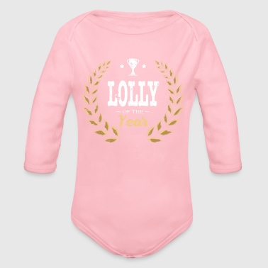 Lolli Pop Lolly Of Year Grandma - Organic Long Sleeve Baby Bodysuit