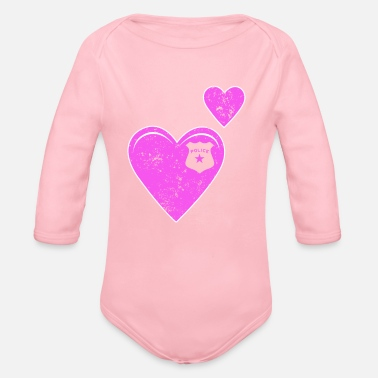 Police Hearts Police - Organic Long Sleeve Baby Bodysuit