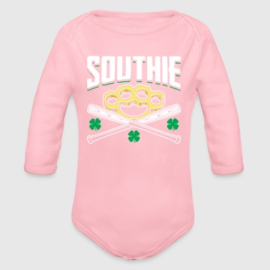 Southie Baseball Bats Brass Knuckle Fist - Organic Long Sleeve Baby Bodysuit