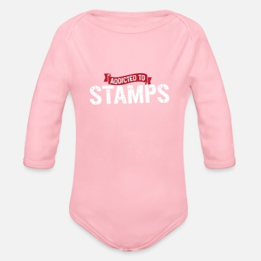 Vintage Postal Service Cool Addicted To Stamps Gift - Organic Long-Sleeved Baby Bodysuit