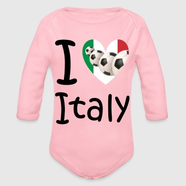 Cuore I love Italy and soccer - Organic Long Sleeve Baby Bodysuit