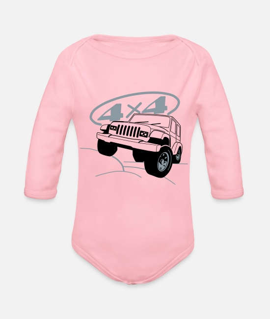 Vehicle Baby One Pieces - Jeep 4x4 Offroad - Organic Long-Sleeved Baby Bodysuit light pink