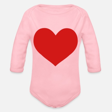 Affeto red heart - Organic Long-Sleeved Baby Bodysuit