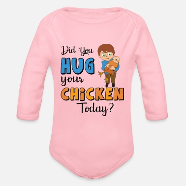 Rooster Chicken hug farm rooster feathers cuddle - Organic Long-Sleeved Baby Bodysuit