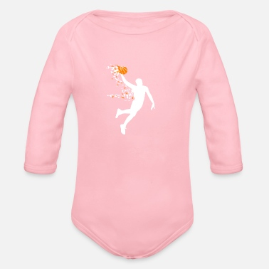 Dunking Scattered Power Dunk Basketball Dunking Slam Dunk - Organic Long-Sleeved Baby Bodysuit