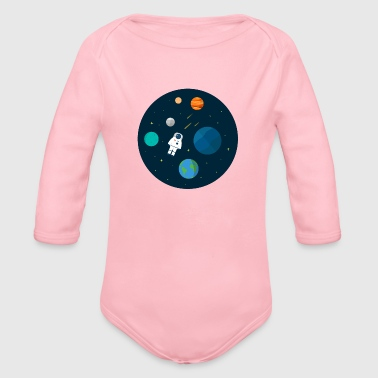 Flat Design Astronaut Cosmic Space Planets SciFi - Organic Long Sleeve Baby Bodysuit