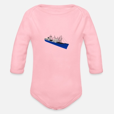 Cargo Vintage Cargo Ship Retro - Organic Long-Sleeved Baby Bodysuit