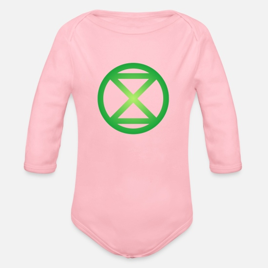 Rebellion Baby Clothing - Extinction Rebellion - Organic Long-Sleeved Baby Bodysuit light pink