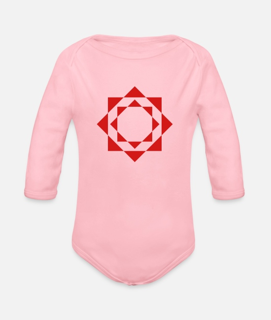 Circle Icon Baby One Pieces - mandala - Organic Long-Sleeved Baby Bodysuit light pink