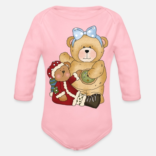 Christmas Baby Clothing - Little Bear Christmas - Organic Long-Sleeved Baby Bodysuit light pink