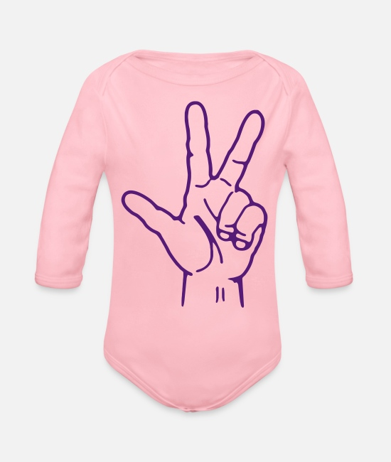 Heart Baby One Pieces - Peace - Organic Long-Sleeved Baby Bodysuit light pink