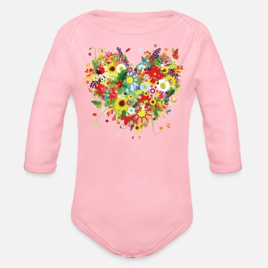 Colorful COLORFUL FLORAL HEART - Organic Long-Sleeved Baby Bodysuit