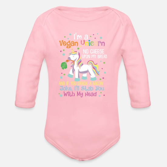 e7c5f5afaa04a Cute Vegan Unicorn Eats Veggies Gift Organic Long-Sleeved Baby ...