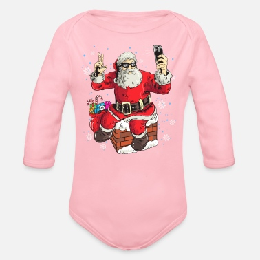 Selfie Cool Santa Claus Taking A Selfie Funny Christmas - Organic Long-Sleeved Baby Bodysuit
