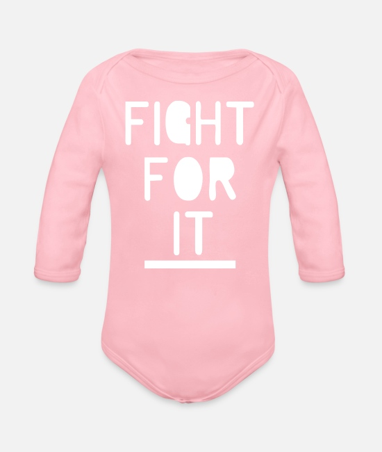 Movie Baby One Pieces - Fight For It - Organic Long-Sleeved Baby Bodysuit light pink