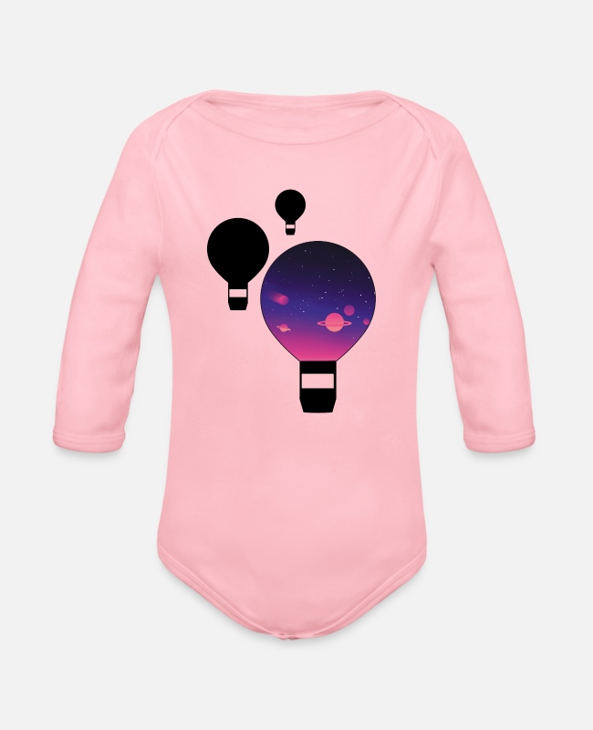 Sport Baby One Pieces - Galaxy balloon - Organic Long-Sleeved Baby Bodysuit light pink