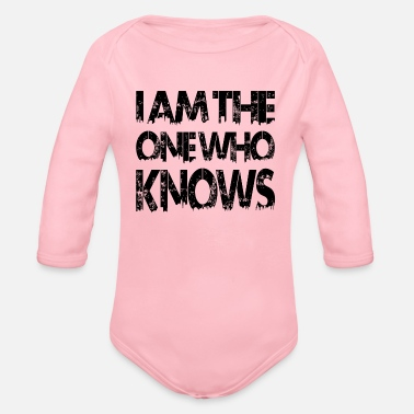 Wholetrain I am the one who knows schwarz - Organic Long-Sleeved Baby Bodysuit