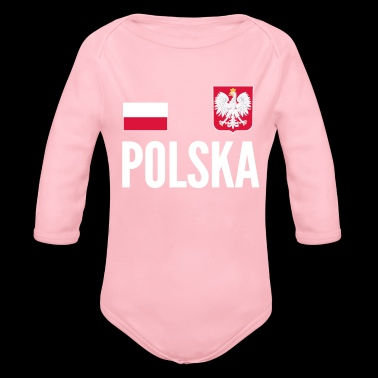 Poland Soccer Jersey World Football Cup Design - Organic Long Sleeve Baby Bodysuit
