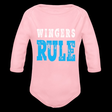 Awesome SOccer & Football Gift Design for Boys & Girls Wingers Rule - Organic Long Sleeve Baby Bodysuit