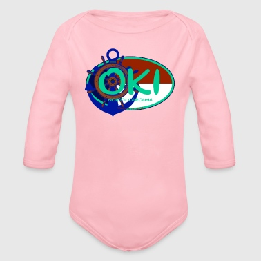 OKI Oak Island North Carolina Flag Seaside Beach - Organic Long Sleeve Baby Bodysuit