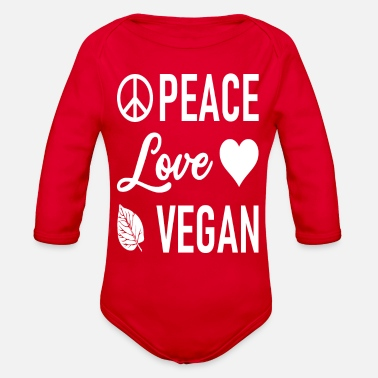 Movement Peace Love Vegan - Peacesign - Heart - Loving - Organic Long-Sleeved Baby Bodysuit