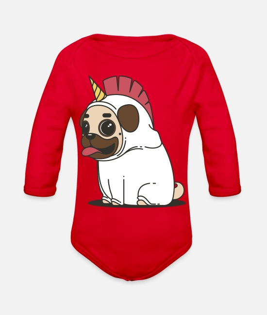 Sweet Dog Baby One Pieces - Pug Love - Organic Long-Sleeved Baby Bodysuit red