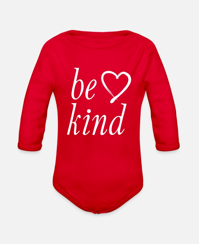 Jesus Baby One Pieces - be kind - Organic Long-Sleeved Baby Bodysuit red
