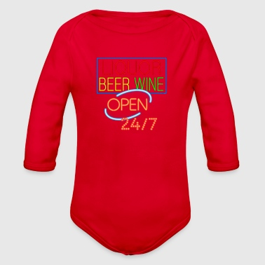 Liquor Beer Wine Neon - Organic Long Sleeve Baby Bodysuit