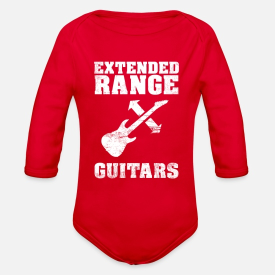 Guitar Player Baby Clothing - Extended Range Guitars - Organic Long-Sleeved Baby Bodysuit red