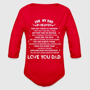 For Dad In Heaven Fathers Day T Shirt - Organic Long Sleeve Baby Bodysuit