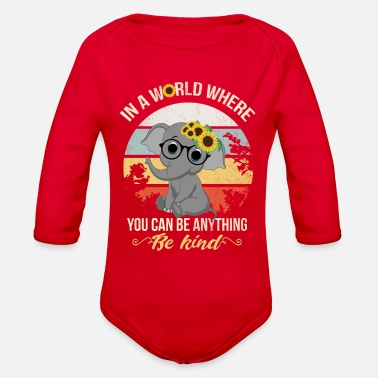 Anything In A World Where You Can Be Anything, Elephant,sun - Organic Long-Sleeved Baby Bodysuit