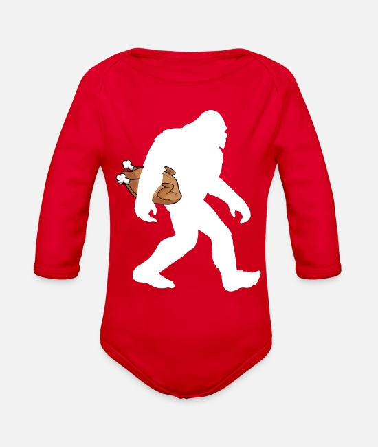 Thanksgiving Turkey Baby One Pieces - Funny Thanksgiving Bigfoot Turrkey T-shirt - Organic Long-Sleeved Baby Bodysuit red